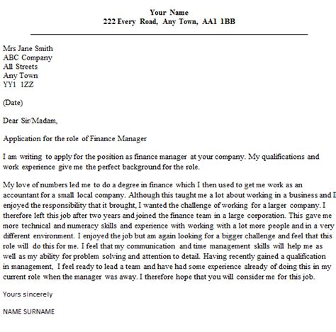 Cover Letter Financial Manager ending an application for a letter drugerreport732