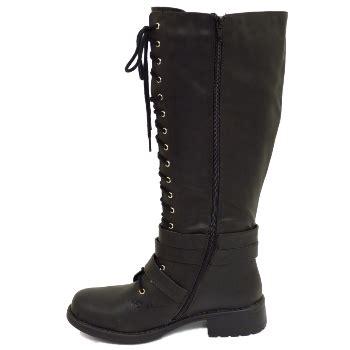 black zip up lace up knee high biker wide fit calf