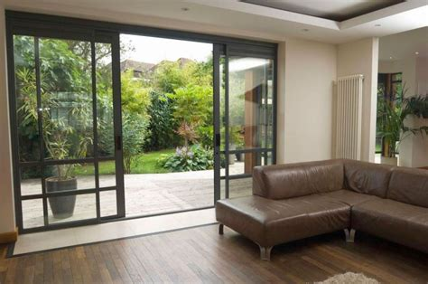 Living Room Glass Door Design L Shaped Leather Sofa With Glass Sliding Doors For