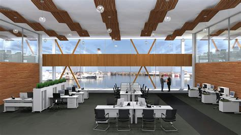 express employee help desk open plan office workstations promote collaboration and