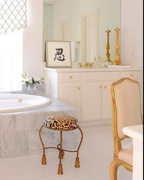 White And Gold Bathroom Ideas White And Gold Bathroom With Leopard Stool Bathroom