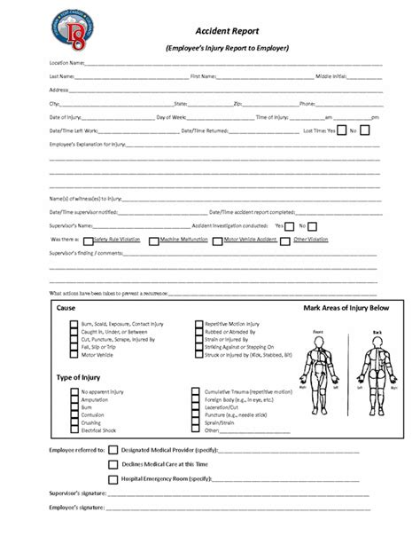 employee injury report template injury report form gallery