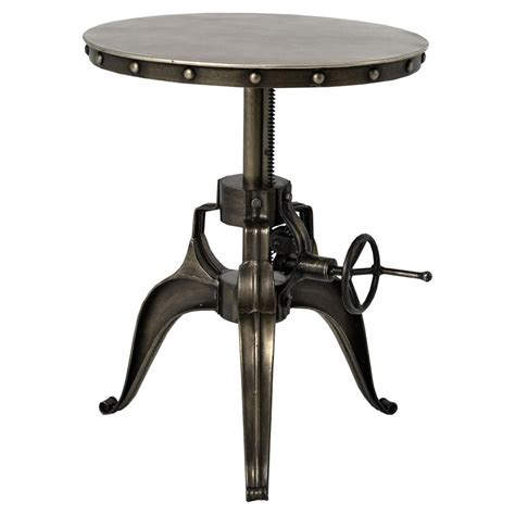fronzoni industrial loft antique nickel crank side table