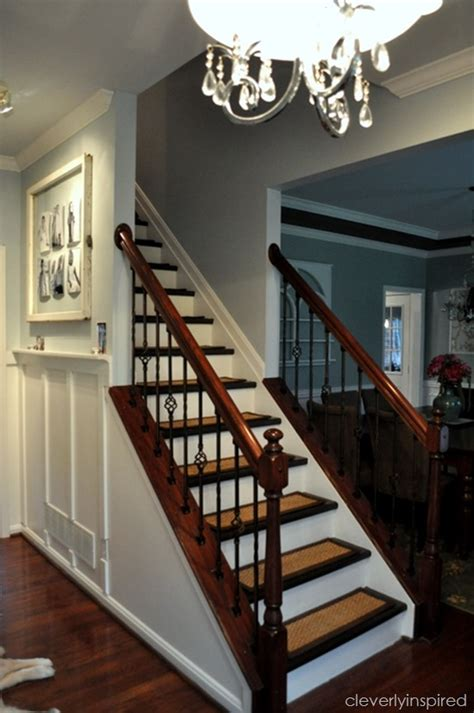 how to restain stair banister top hits revisited diy refinishing stairs cleverly inspired