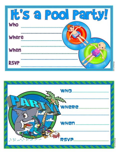 printable pool party decorations free printable quot pool party quot invites 104 days of summer