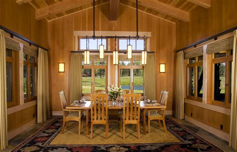 unique dining room lighting with craftsman exposed beams
