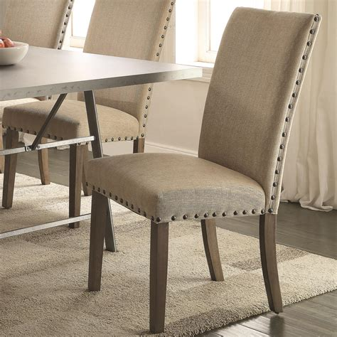 fabric dining chairs with nailhead trim coaster amherst casual parson chair with fabric