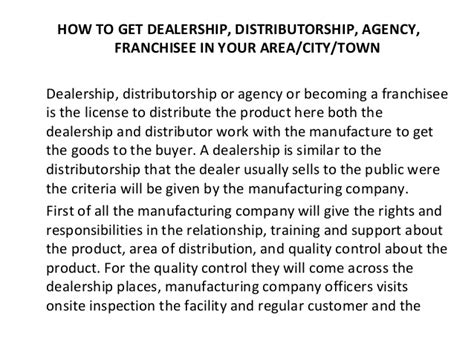Sle Letter For Product Dealership Request application letter for distributorship sle 28 images