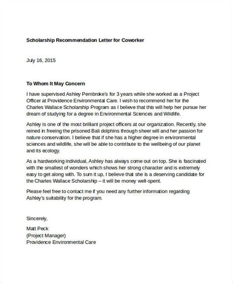 sample recommendation letter coworker co worker reference letter