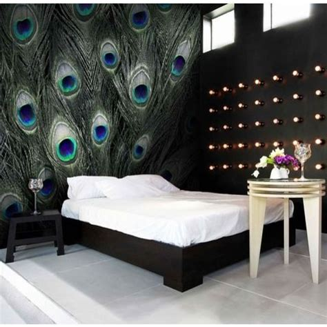 blue peacock feather pattern wall murals peacock pattern    bespoke mural sizes