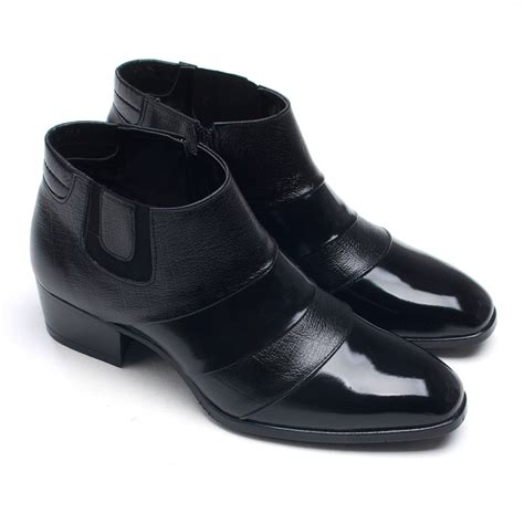 high heeled mens boots mens leather two touch band ankle boots