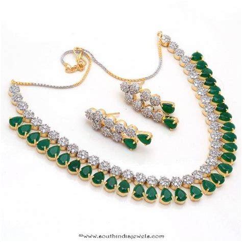 imitation emerald necklace south india jewels