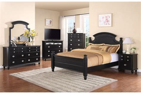 bedroom set full black stained oak wood double size bed frame with curved