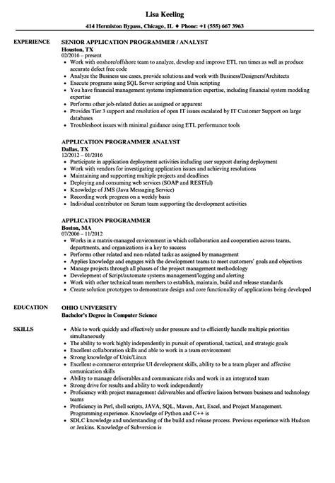 application programmer resume sles velvet jobs