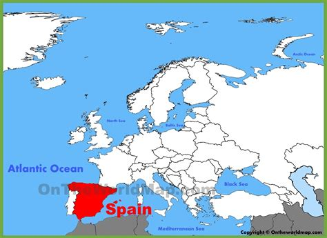 europe on map spain location on the europe map