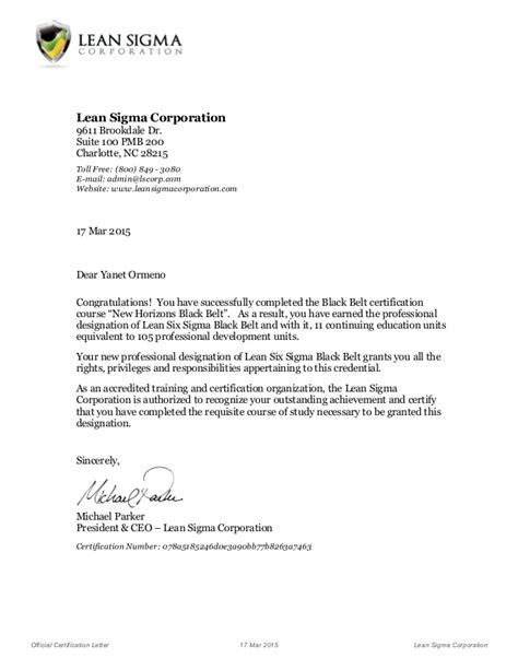 certification letter of company course certificate letter lean six sigma black belt