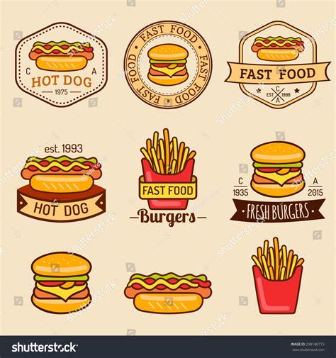 vector vintage fast food logos set stock vector 298180715