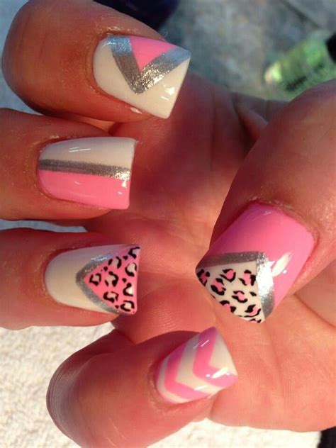 easy nail art chevron summer nails animal cheetah print triangles triangle pink