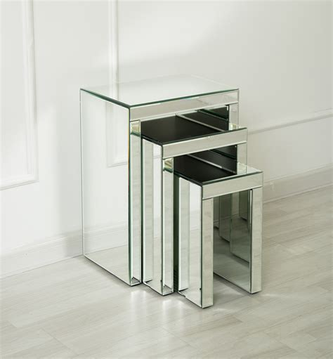 mirrored nest of tables venetian mirrored nest of tables milan set of 3 nesting
