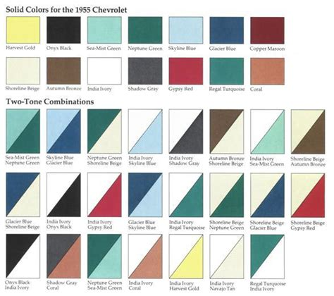 Color Combinations For Home Interior by 1955 Chevrolet Body Colors 1955 Classic Chevrolet