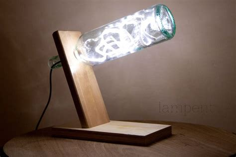 How To Make Led Light Bulb Wooden Bottle Desk L With White Led 55 00 Via Etsy L Candle