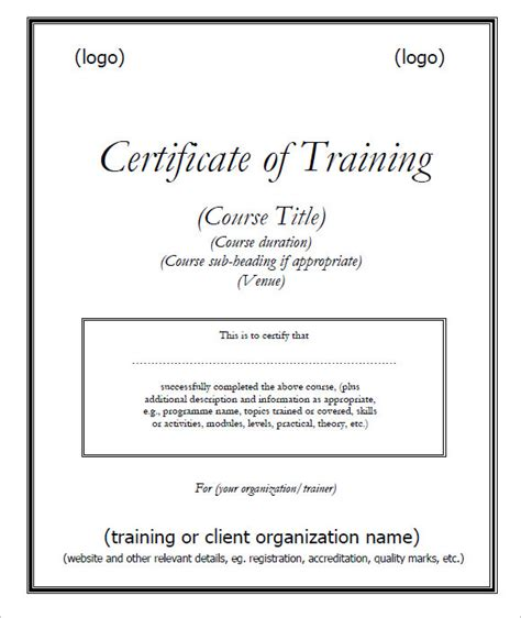 9 training certificate templates free sles