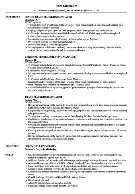 Grain Trader Sle Resume by Trade Marketing Resume Resume Ideas