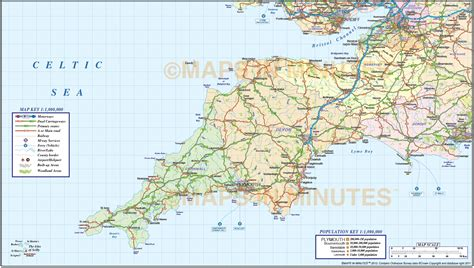 map of south west south west county road and rail map at 1m scale in