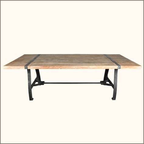 Industrial Dining Room Table Rustic Industrial Reclaimed Wood Wrought Iron Dining Room Table Furniture New Ebay