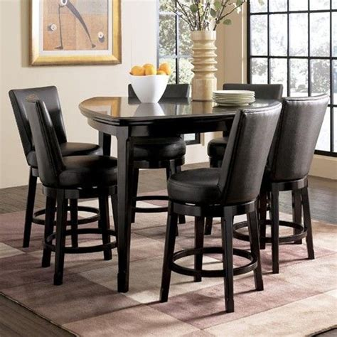Triangle Pub Table millennium emory 7 triangle pub table set with 6 upholstered swivel bar stools