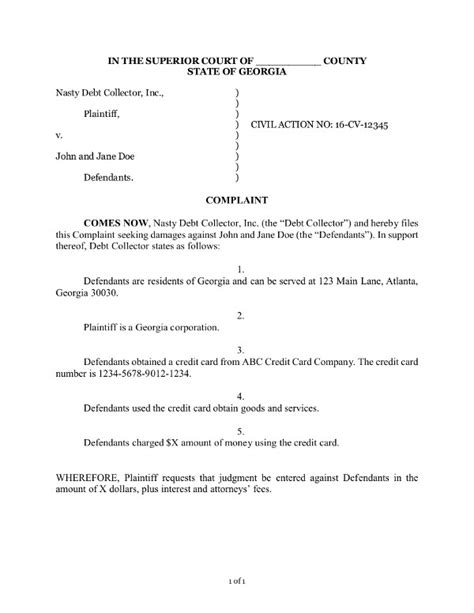 How To Answer A Debt Collection Lawsuit Wiggam Geer Llc Lawsuit Complaint Template
