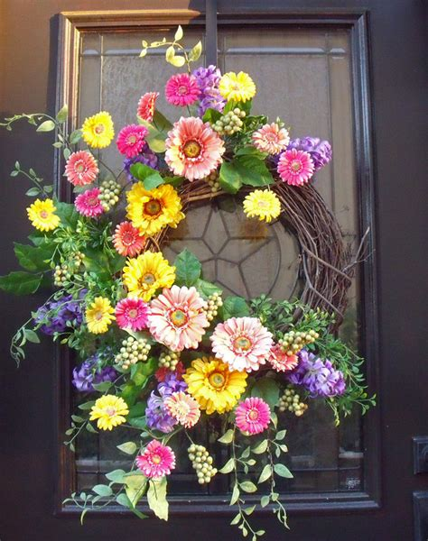 spring door wreaths gerber daisy wreath spring wreaths easter wreath spring