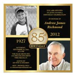 85th birthday invitations then amp now photos 5 25 quot square
