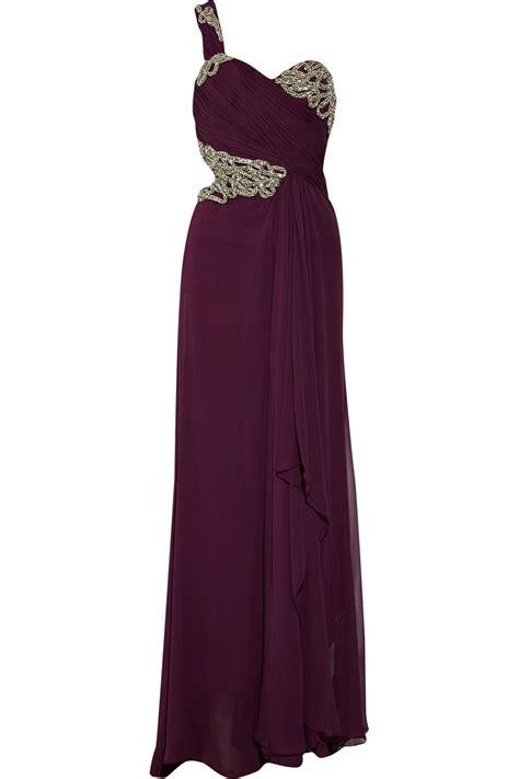 Marchesa Silk Chiffon Gown by Lyst Marchesa Embellished Silk Chiffon Gown In Purple
