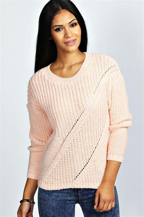 womens knit boohoo womens sleeve chunky cable knit jumper
