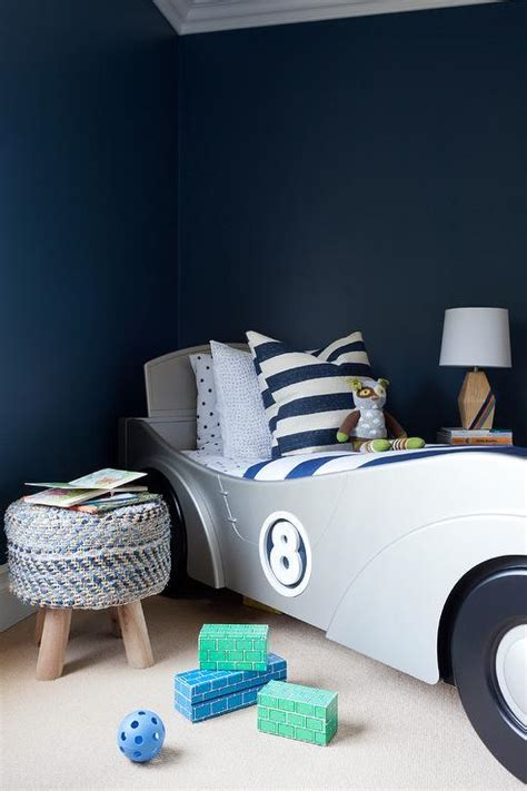 race car bedroom decor navy blue boy bedroom with silver race car bed