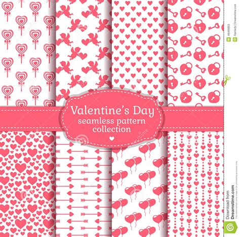 seamless pattern collection happy valentine s day set of love and romantic seamless