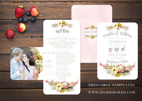bohemian protea floral invitation wedding templates creative market