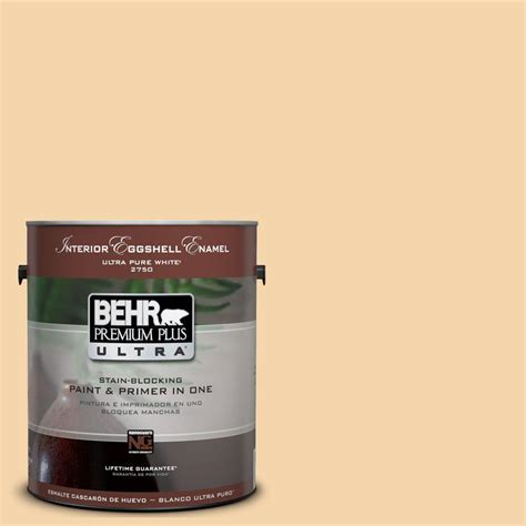 behr premium plus ultra 1 gal ul150 12 pale honey interior eggshell enamel paint 275001 the