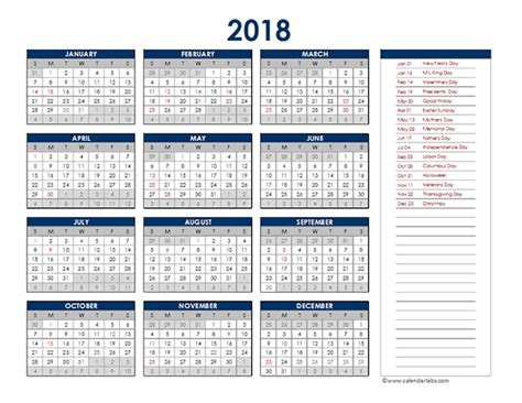 excel yearly calendar  printable templates