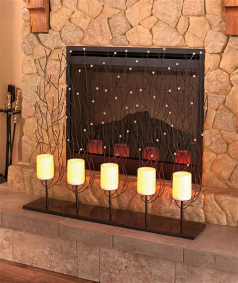 candle fireplace screen fireplace decorative screen w led flameless candles