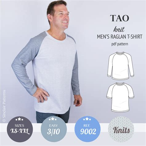 sewing pattern grandad shirt tao semi fitted classic raglan t shirt for men pdf