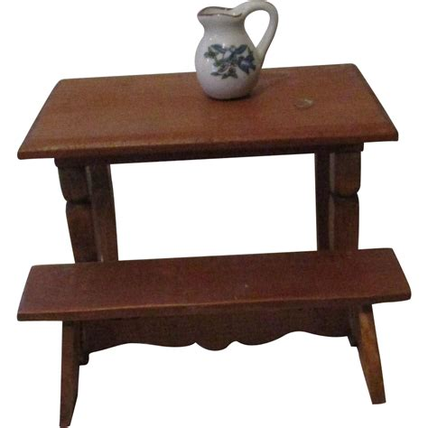 house bench vintage wooden doll house table and bench from atticangel on ruby lane