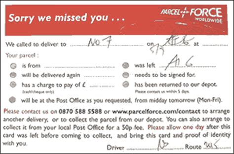 sorry we missed you card template uk international postal services send letters or parcels