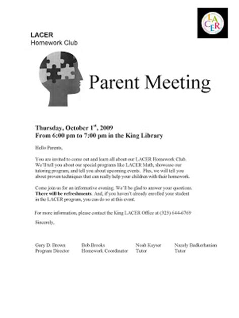 Parent Meeting Letter King Homework Club