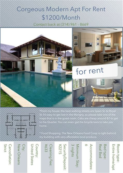 house rental flyer template flyer templates sles flyer maker publisher plus