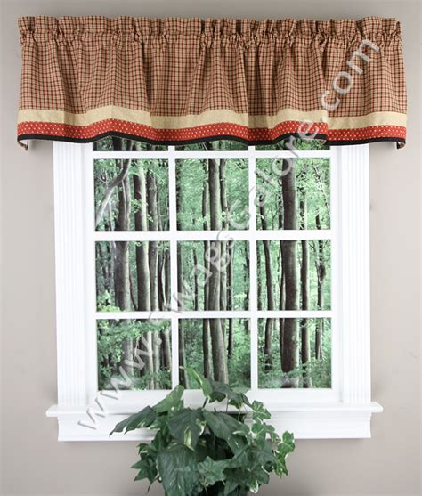 lined kitchen curtains home place lined border valance multi park designs