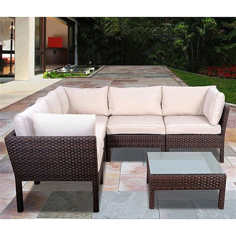 Patio Sectional Sofa Atlantic Infinity 6 All Weather Wicker Outdoor Sofa Sectional Set Brown Seats 4