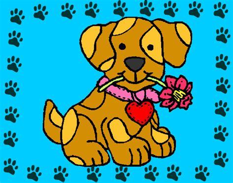 dibujo de cachorro con una flor en la boca para colorear dibujo de perrito con una rosa pintado por alba adela en