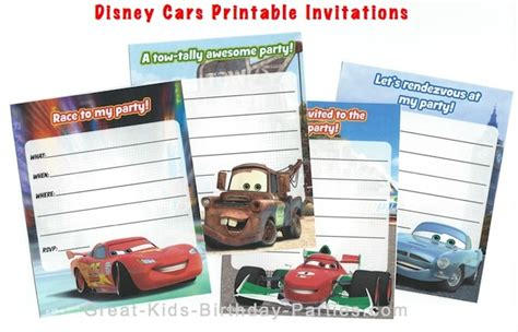 printable disney cars birthday invitations disney cars birthday